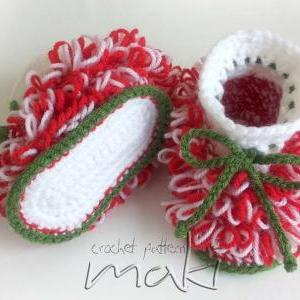 Crochet pattern - Christmas booties..