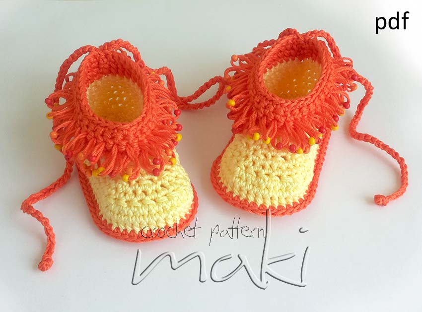 Crochet Pattern Loop Stitch With Beads Crochet Baby Booties Full