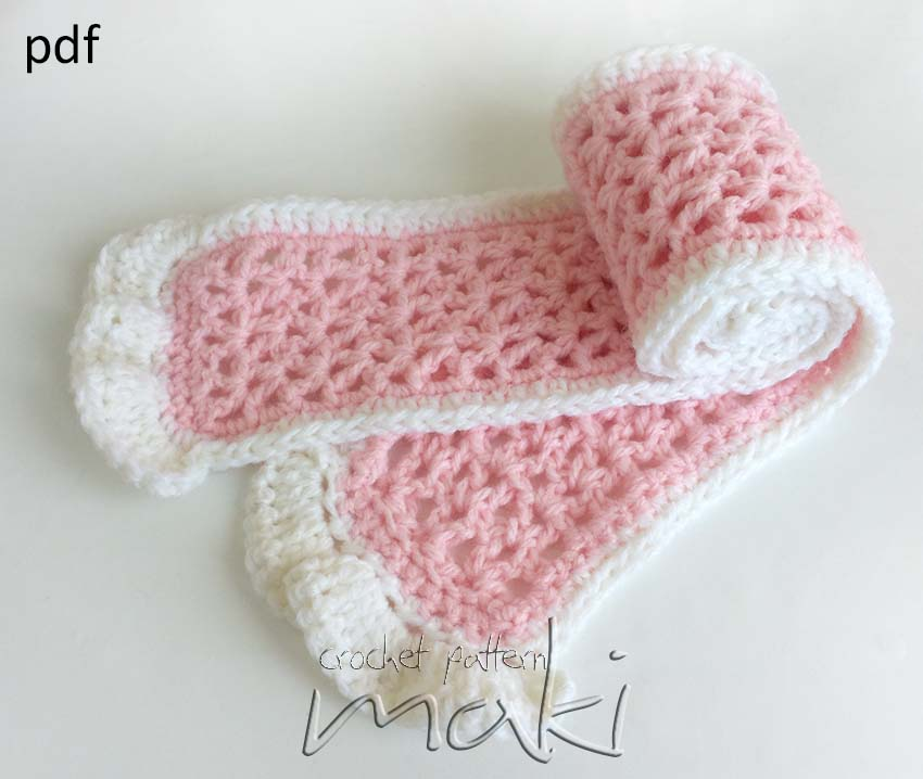 Crochet Pattern Scarf For Baby Toddler Or Adult Full Of Large